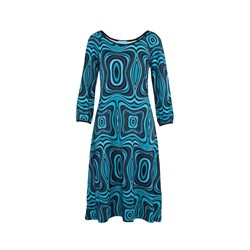LaLamour Kjole Flared Dress Puffed Sleves Wave Black/Turquoise